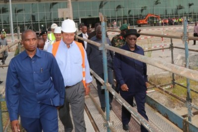 President John Magufuli inspects construction works at Terminal III of the Julius Nyerere International Airport (JNIA) during his impromptu visit to the site in Dar es Salaam. (file photo).