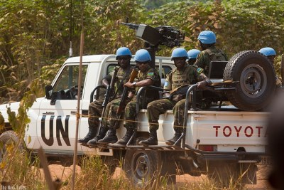 Rwanda Defence Forces peacekeepers on patrol in Bangui, Central African Republic (file photo).