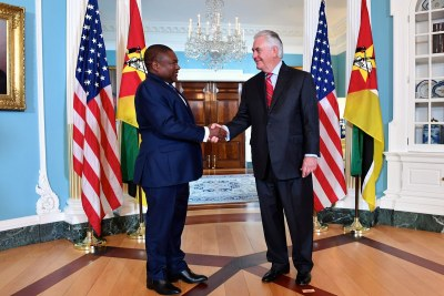 Secretary Tillerson welcomed #Mozambique President Filipe Jacinto Nyusi to the @StateDept this morning.