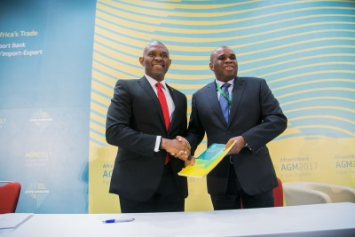 Championing cross-border trade and investments on the continent. Mr. Tony O. Elumelu, CON, Chairman Heirs Holdings with Dr Okey Oramah, President and Chairman, African Export-Import Bank (Afreximbank) during the signing ceremony of the $100million facility to Heirs Holdings Limited to further support its cross-border investment programme.