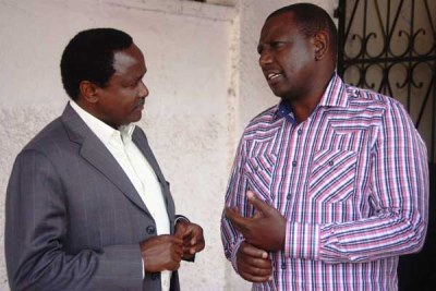 Deputy President William Ruto, right, and Nasa presidential running mate Kalonzo Musyoka at a past function.