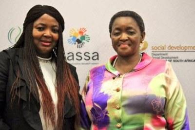 Pearl Bhengu, interim SASSA Acting CEO with Social Development Minister, Bathebile Dlamini