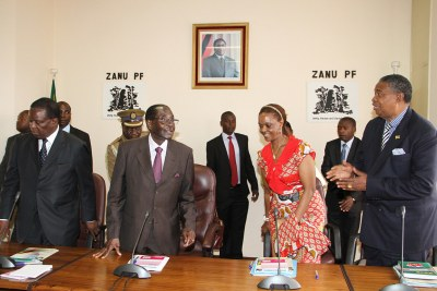 President Robert Mugabe, First Lady Grace Mugabe and Vice Presidents Emmerson Mnangagwa and Phelekezela Mphoko.