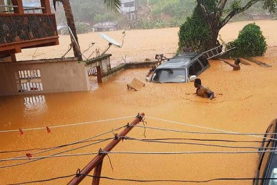 Flooded streets in Regent near Freetown on August 14, 2017.