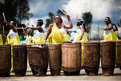 Ingoma Nshya group of female drummers in action.