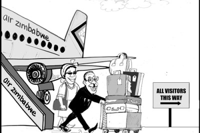President Robert Mugabe is hardly in Zimbabwe.