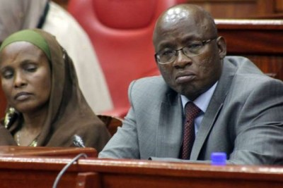 Senator Fatuma Dullo (left) and Baringo North MP William Cheptumo - chairpersons of the parliamentary ad hoc committee handling the proposed changes to the election laws - pay attention during proceedings at Continental house, Nairobi, on October 3, 2017.