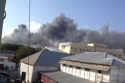 Heavy smoke is seen billowing from the area where a truck bomb exploded in Somali capital Mogadishu.