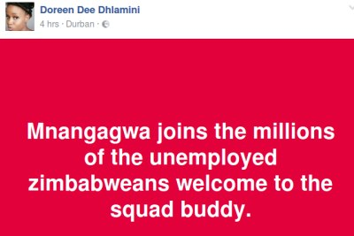 Mnangagwa joins millions of the unemployed Zimbabweans.