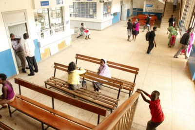 Patients in the out-patient wing at Naguru Friendship Hospital wait