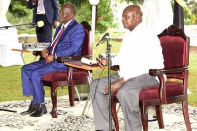President John Magufuli and President Yoweri Museveni at Masaka State Lodge.