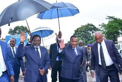 Joseph Kabila et Denis Sassou à Brazzaville avant la réunion tripartite Angola-République du Congo-RDC