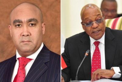 Left: NPA head Shaun Abrahams. Right: President Jacob Zuma.
