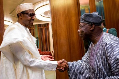 President Muhammadu Buhari with Olusegun Obasanjo in happier times...
