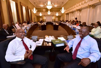 President Jacob Zuma, Deputy President Cyril Ramaphosa, ministers and their deputies attend Cabinet committee meetings in Cape Town on February 7.