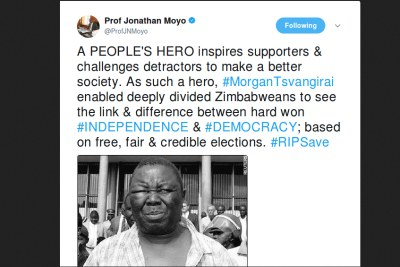 Jonathan Moyo reacts to Morgan Tsvangirai's death.