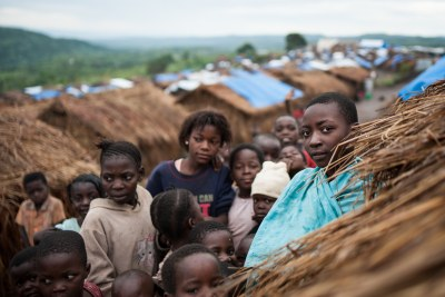 An informal settlement for displaced people in Mwaka village, Tanganyika province in the Democratic Republic of Congo.