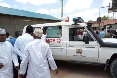 An ambulance carrying bodies of 3 teachers killed in a Shabaab attack on February 16, 2018 arrives at Wajir Referral Hospital.