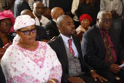 From left, Thokozani Khupe, Nelson Chamisa and Elias Mudzuri at Morgan Tsvangirai funeral.