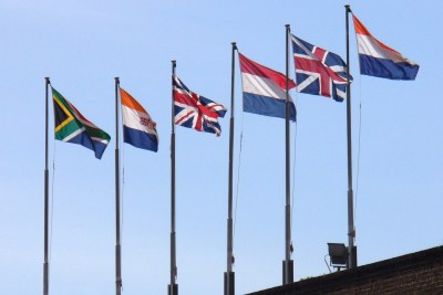 The six South African flags that have flown on the Castle of Good Hope in Cape Town through the course of history, the oldest at the right and the current flag at the left.