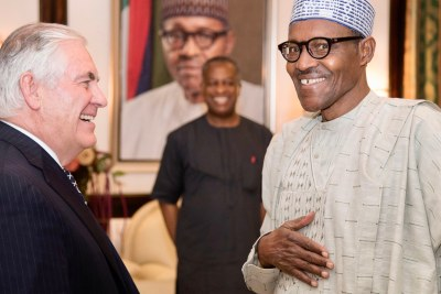 President Muhammadu Buhari met American Secretary of State Rex Tillerson at the presidential offices at Aso Rock, Abuja, on Monday.