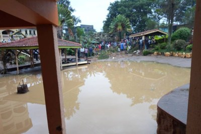 Flooding at the Rwizi Arch Hotel in Kamukuzi Division, Mbarara District after a heavy downpour on Wednesday.