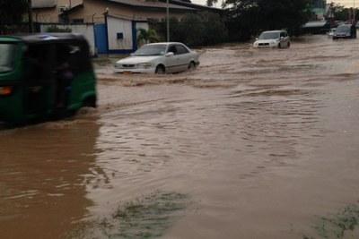 A flooded road in Dar es Salaam.