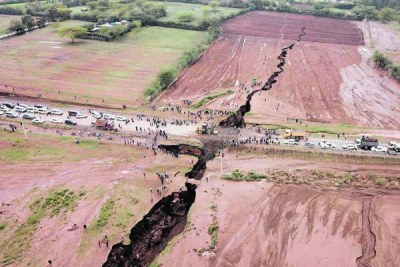 Deep fissures in Narok County.