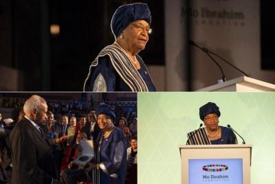 Ellen Johnson Sirleaf, ancienne présidente du Liberia, a accepté le prix Mo Ibrahim de 5 millions de dollars pour sa réussite dans le leadership africain lors d'une cérémonie spéciale de leadership à Kigali, au Rwanda. #MIFKigali.