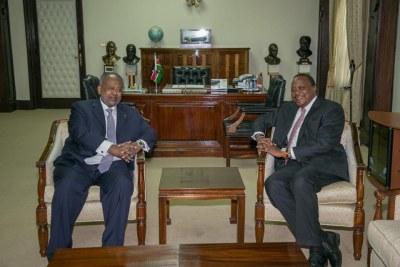 President Uhuru Kenyatta hosts Djibouti President Ismail Omar Guelleh.