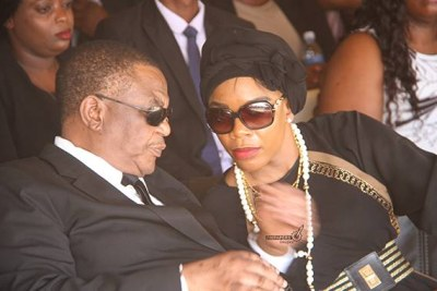 Acting President Costantino Chiwenga and wife Mary at the burial of his sister Margaret Machekabuwe in Marondera.