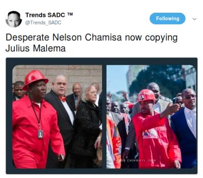Zimbabwe Politician Chamisa Takes Heat on Twitter for Dressing Like Malema