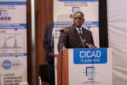 Le président de la République du Sénégal, Macky Sall au lancement officielle de la publication des résultats du Projet de rénovation des comptes nationaux (PRCN), le jeudi 12 juillet 2018 au Centre international de conférence Abdou Diouf (CICAD)