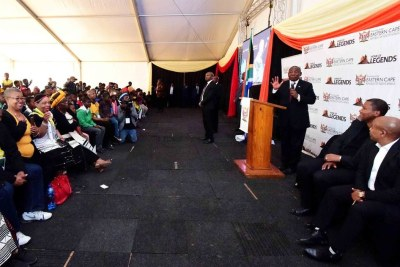 President Cyril Ramaphosa addressing members of the community in Mvezo in the Eastern Cape as part of the Centenary Celebrations of Nelson Mandela.