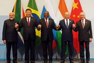 Indian Prime Minister Narendra Modi, China President Xi Jinping, South African President Cyril Ramaphosa, Russian President Vladimir Putin and Brazilian President Michel Temer