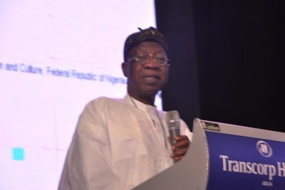 Nigeria's Minister of Information and Culture, Alhaji Lai Mohammed, addressing the International Press Institute (IPI) in Abuja.