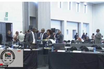 Video screenshot of the Zondo Commission of Inquiry.