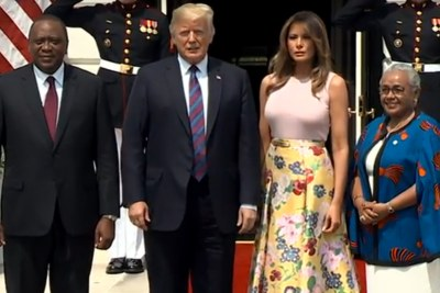 President and Mrs Trump welcome President and Mrs Kenyatta to the White House on Monday, August 27.