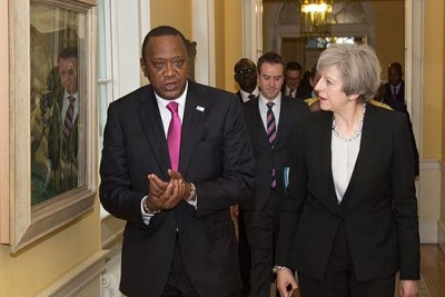 President Uhuru Kenyatta and British Prime Minister Theresa May (file photo).