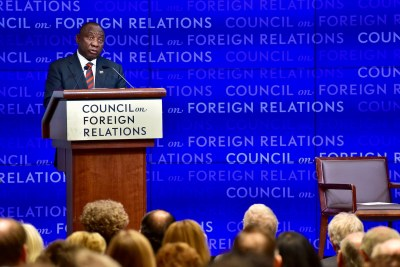 President Ramaphosa addressing the Council on Foreign Relations meeting, at the Council offices in New York.