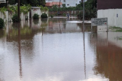 An area in Accra flooded after heavy afternoon rain.