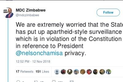 A November 12, 2018 MDC tweet about surveillance on leader Nelson Chamisa