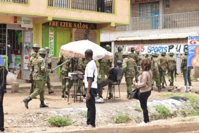 Police patrol Baba Dogo.