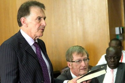 Nicholas van Hoogstraten takes an oath before Mines and Energy Parliamentary Portfolio Committee in Harare.