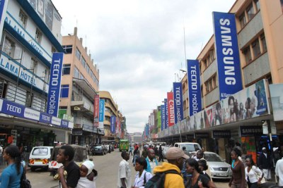 Electronics shop along busy Nairobi's Luthuli Avenue (file photo).