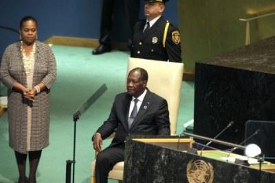 Le président ivoirien Alassane Ouattara à la tribune de l'ONU