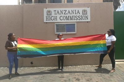 Lobby group protest against anti-queer action in Tanzania.