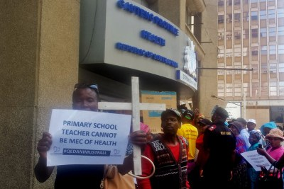 Angry families protest over Life Esidimeni deaths scandal outside the Gauteng health department offices in Johannesburg (file photo).