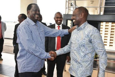 Orange Democratic Movement leader Raila Odinga (left) and Deputy President William Ruto (right) meet in Kisumu (file photo).