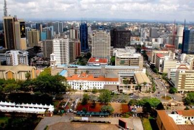 Vue aérienne de la ville de Nairobi.